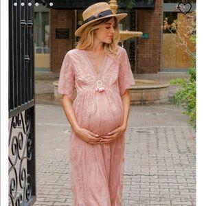 Pinkblush lace maternity dress